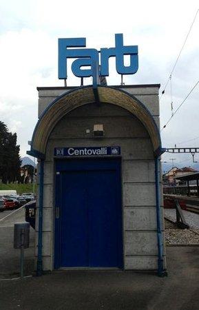 Vigezzina-Centovalli Railway : entrance to FART station to begin train ride from Locarno