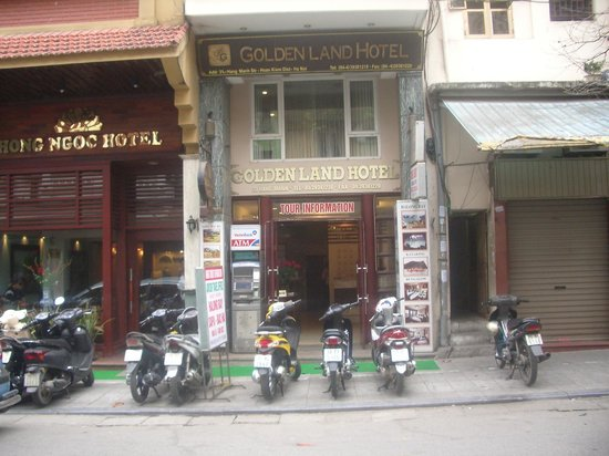 Golden Land Hotel:                   Front of the hotel - dont blink or you will miss it. ATM outside the door.