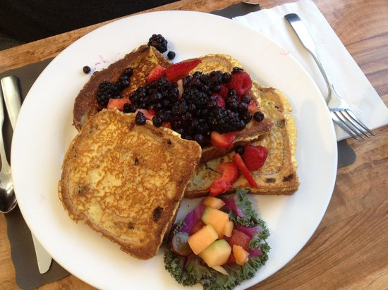 James' Breakfast and More:                                     Cinnamon raisin French toast with fresh berries covered in r