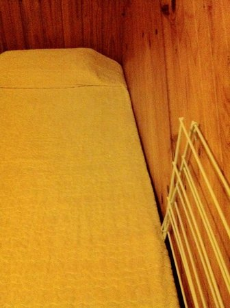 "Wonboyn Cabins & Caravan Park :                   Basic bed and bedspread that we ""did not lie on""."