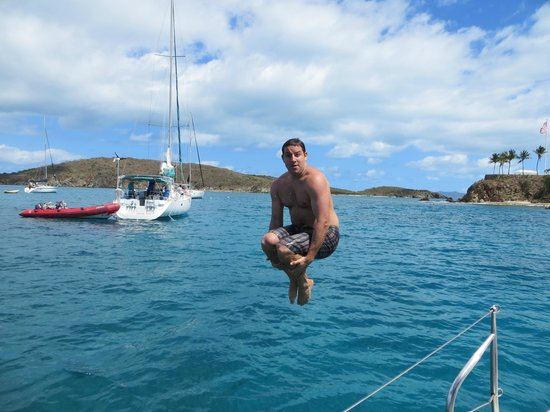 Cloud 9 Sailing Adventures:                   Cannonball's off of the Boat!