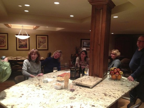 The Charter at Beaver Creek:                   Six can sit around the granite kitchen slab enjoying apres ski etc