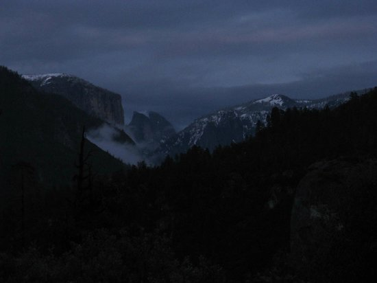 Yosemite Lodge At The Falls:                                     Half dome at dusk