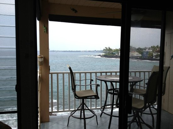 Sea Village Resort:                   Looking out to the lanai from the living room