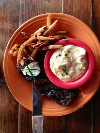 New York strip and pimento grits