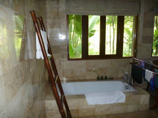 Warwick Ibah Luxury Villas & Spa: Lovely bathroom looking out into the lush gardens.