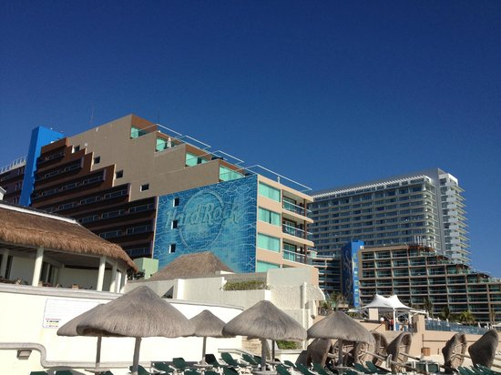 Hard Rock Hotel Cancun: View of hotel from beach