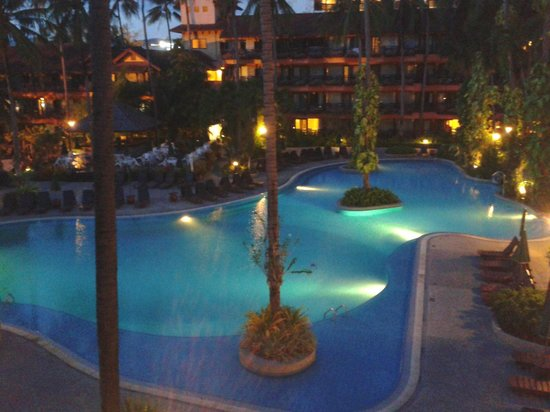 Patong Merlin Hotel:                   Evening view from our room to main pool