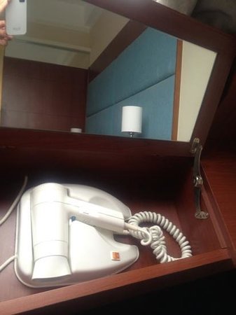 ‪‪B P International‬:                   Bathroom so small, blow dryer located in desk by the window
