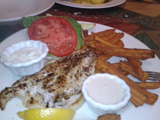 George & Wendy's Sanibel Seafood Grille :                   Grilled Grouper and Sweet Potato Fries