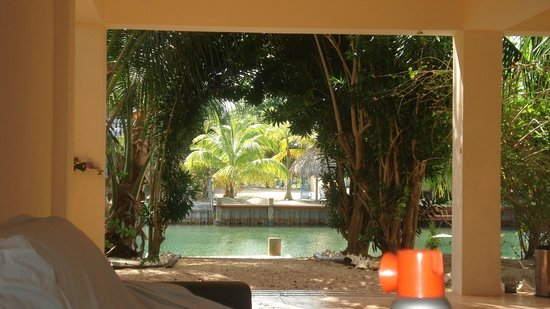 Three Iguanas Villa:                   Views from the breeze way to the lagoon