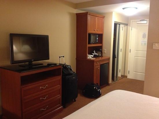 Hilton Garden Inn Poughkeepsie/Fishkill:                   tv and fridge in room 319