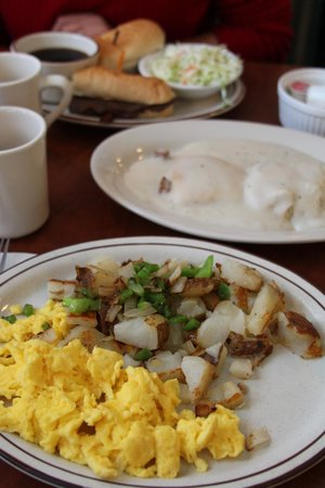 Evergreen Cafe & Racoon Saloon: Breakfast served all day (like the sign says); two eggs, home fries, and biscuits with gravy