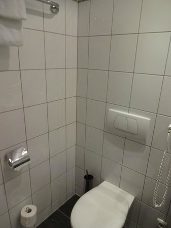 Hotelisssimo Haberstock:                   Typical European toilet.  The bathroom was nice with lots of hooks on the wall