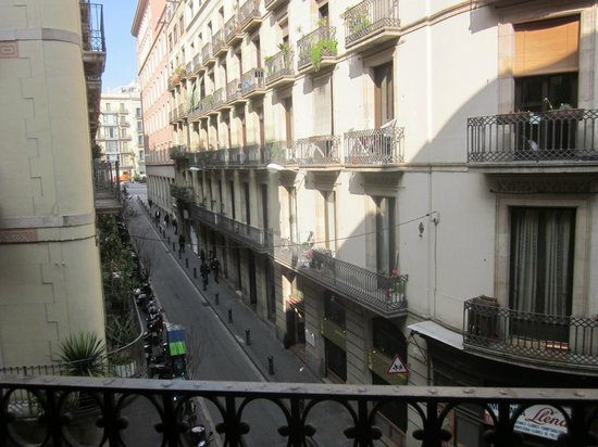 Pension 45 :                   Looking from Balcony down Carrer Jovellanos
