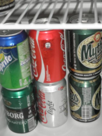 Mykonos Grand Hotel & Resort:                   beer in cans!
