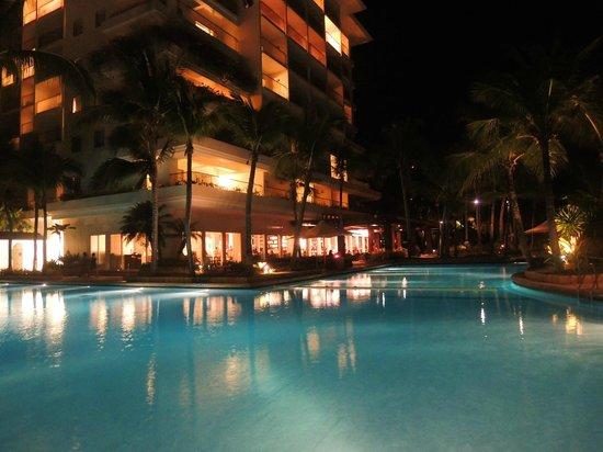 Shangri-La's Mactan Resort & Spa:                   1 of the 2 pools by night