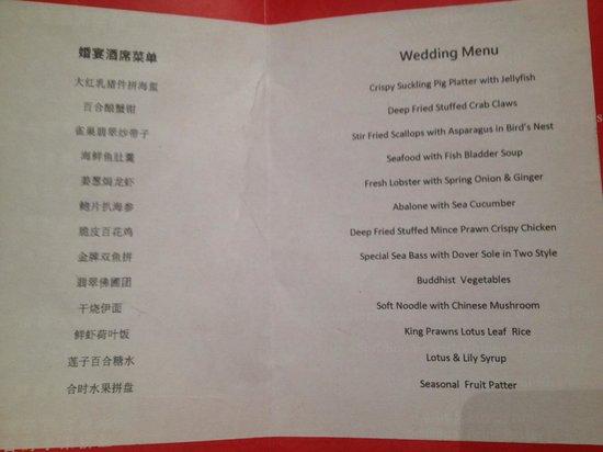 Tin Tin Restaurant:                   Pre-wedding Banquet Menu