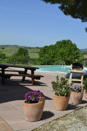 Agriturismo I Gretacci: vista piscina dal portico