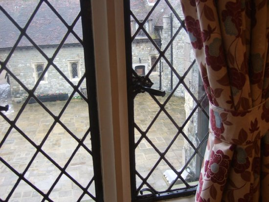 Eastwell Manor:                   View from Earl of Winchelsea Room into front courtyard
