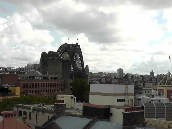 Sydney Harbour YHA:                                     View of Sydney Bridge from rooftop