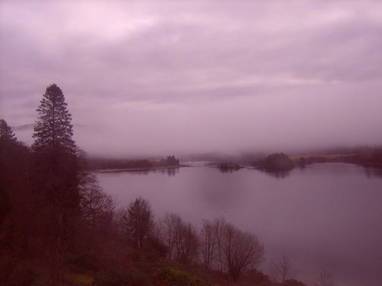 Loch Awe, UK:                   The view across the loch to the castle from our bedroom.