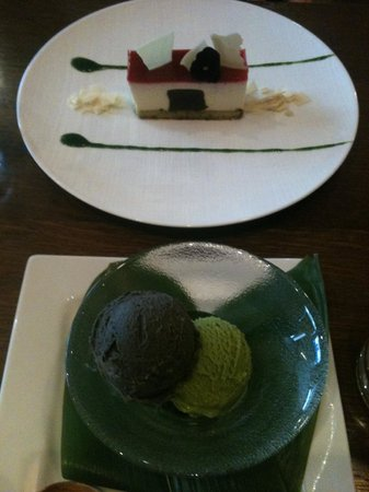dessert sesame and green tea ice cream cake with red fruits red