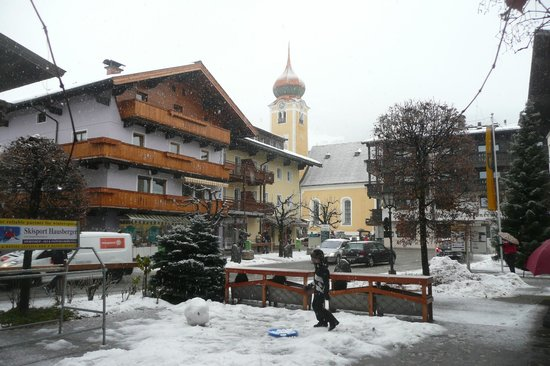 Hotel Jakobwirt:                   View of the village square from Hotel front door