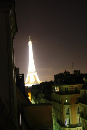 Hotel Elysees Union:                   Not the clearest photo, but pretty amazing view from our room
