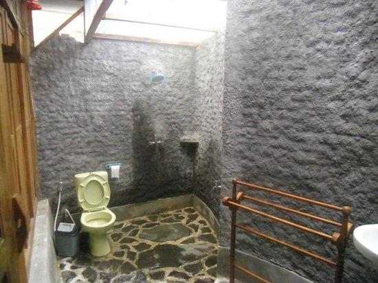 Omah Tembi :                   Inilah kamar mandinya. Cukup besar dan terang dengan nuansa berbeda