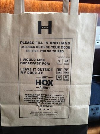 The Hoxton, Shoreditch:                   Good way to serve breakfast!