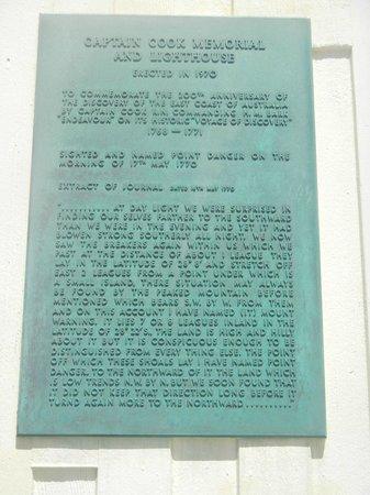 Point Danger:                   Captain James Cook plaque.