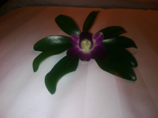 Metadee Resort and Villas:                   orchid on our bed upon arrival