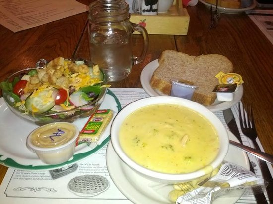 Crane's Pie Pantry:                   House salad, broc cheese soup, whole wheat bread