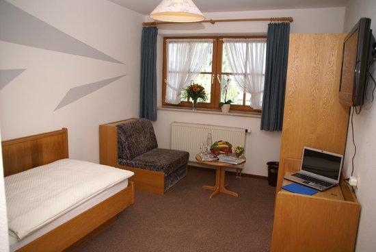 Landhotel & Gasthaus Wiedmann : Einzelzimmer Standard mit Schreibtisch und Flachbild TV