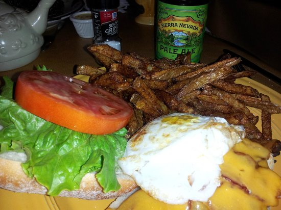 The Frog & the Monkey :                   Duck Egg on a bacon chedder burger with homemade fries