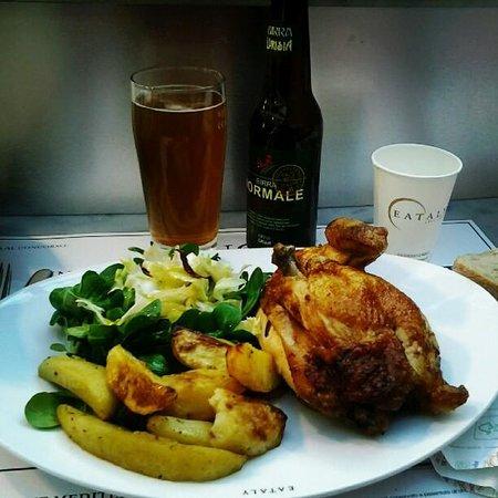 EATALY - Lingotto - LA CARNE :                   Mezzo pollo con patate e birra Normale