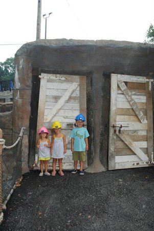 Yogi Bear's Jellystone Park Camp-Resort in Quarryville:                   In front of the mining cave