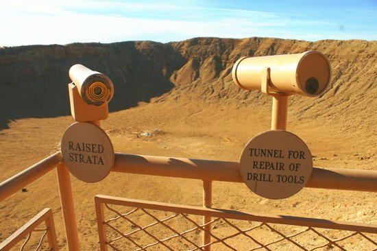 Meteor Crater:                   Fixed scopes along the railing for vieiwing specific items in the crater.
