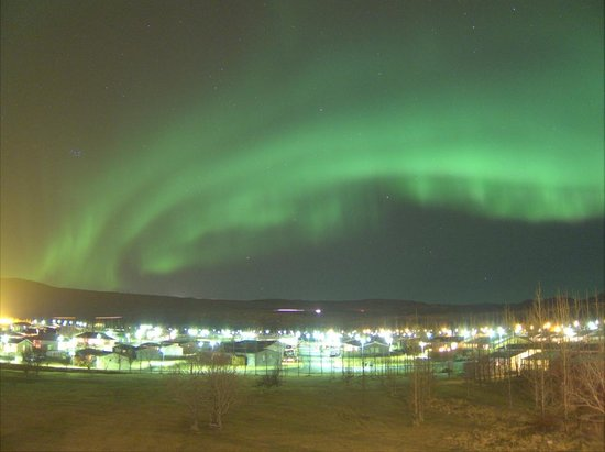 Hotel Ork:                   Northern lights from the hotel room