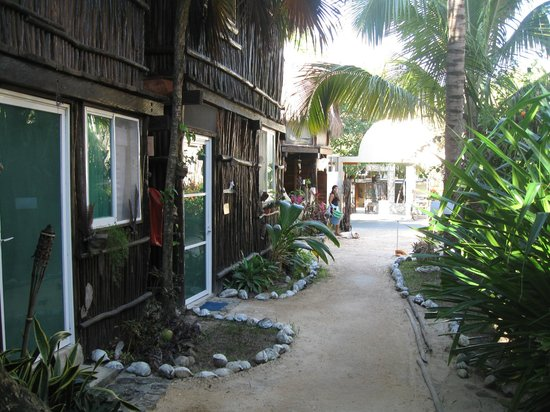 My Tulum Cabanas:                   looking toward the road past some of the rooms