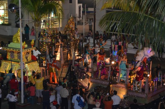 Cozumel Palace:                   Festival parade passes directly in front of Hotel