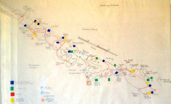 Hotel Higgins Landing:                   Karte von der Insel