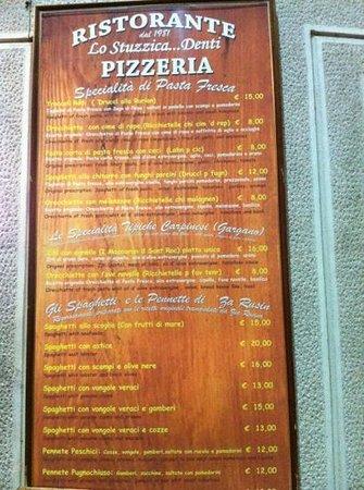 Lo Stuzzicadenti :                   menù ...ricette originali  del Gargano