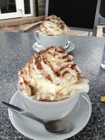 Blackroot Bistro:                   White Hot Chocolate topped with Vanilla whipped Cream, Marsh Mallows and Malte
