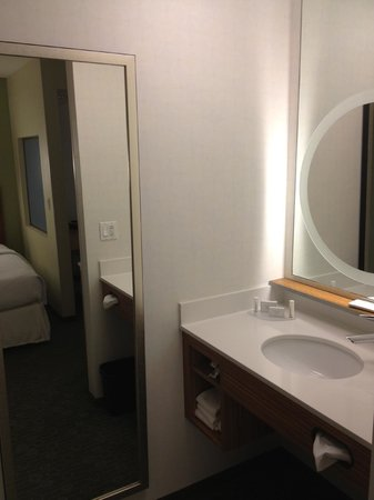 SpringHill Suites St. Louis Airport/Earth City:                   Nice, bright bathroom.