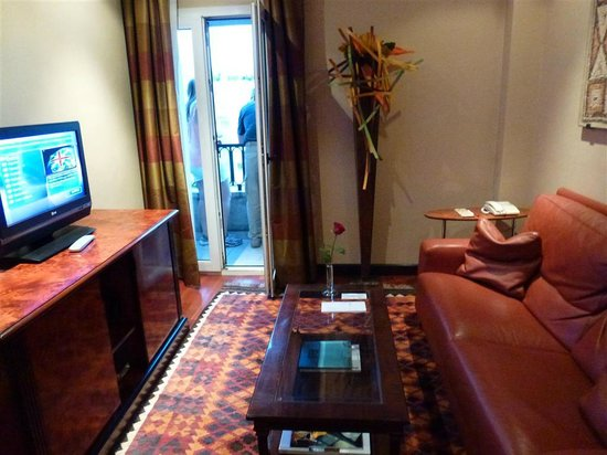 Hotel Villa Real:                   lower level sitting area with couch and TV