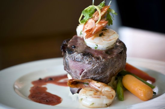 @27: Filet Mignon Topped with Pan Seared Black Tiger Shrimp