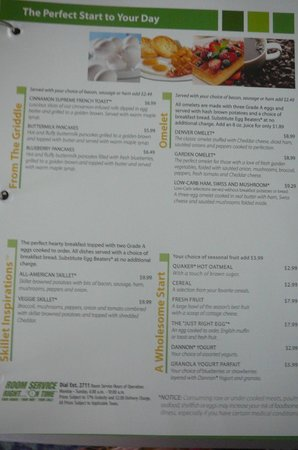 Holiday Inn Winter Haven:                   Breakfast menu of Cafe Blu