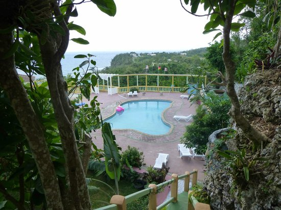 Pimento Lodge Resort :                   Pimento Lodge Pool and Terrace View of the Sea